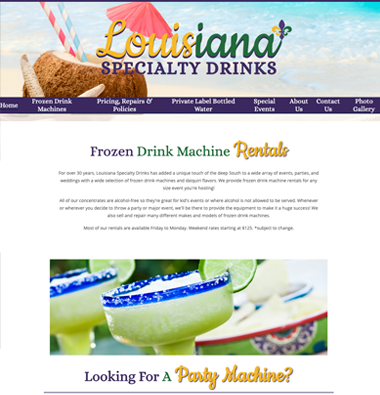 image of louisiana specialty drinks website