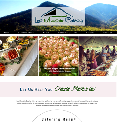 image of lost mountain catering website