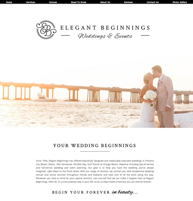 image of elegant beginnings website