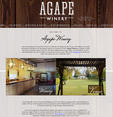 snapshot of a winery wedding venue website