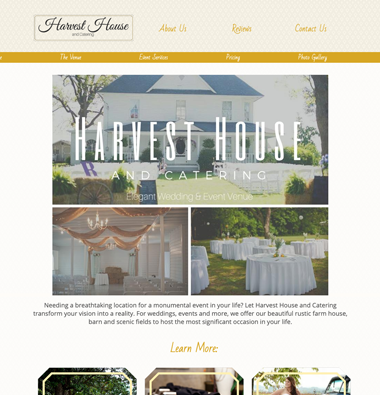 Snapshot of a catering website