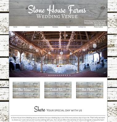 A barn wedding venue website snapshot